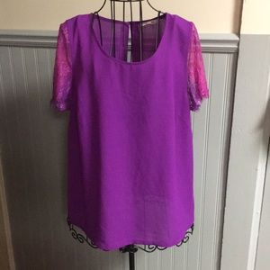 41 Hawthorn Purple Lace Sleeve Blouse